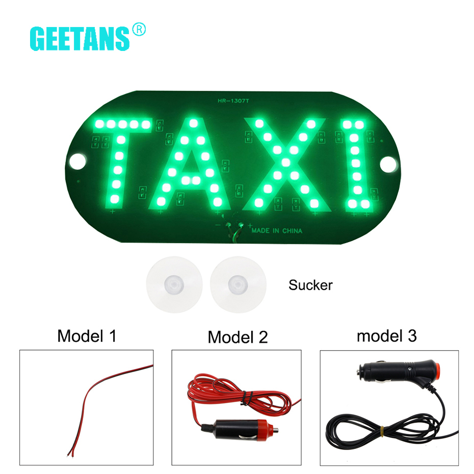 GEETANS Large Size Windscreen DIY DC12V 45 LED DRL Car Taxi Meter Cab Sign Light Lamp Bulb 4 Colors Taxi Car Warning Light CE