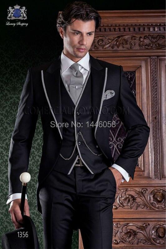 2017 Nouveau veste Gilet Smokings Pantalon Fit Tailcoat Cravate Mariage Picture As Slim Costume Hommes De Pour Costumes Noir as Marié Design Italien wwrZxTdq4