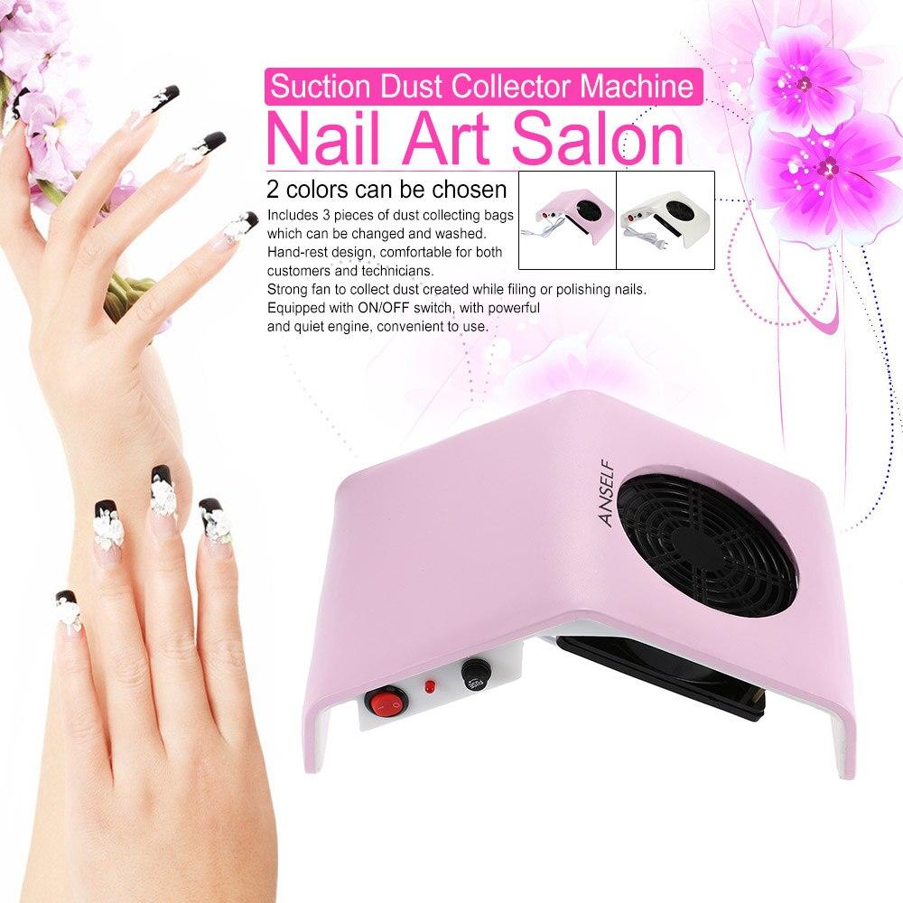 Anself Pro Salon Nail Dust Collector 30W Strong Fan Nail Art Tool ...