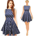Womens Dress Plus Size Dresses Summer Style Mujer Slimming Polka Dot Bohemian Dresses Sleeveless Pleated Vestido Dress C168