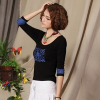 2017 New Spring Summer Ethnic T Shirt Women Tops Modal Casual Vintage Prints Chinese Style Women