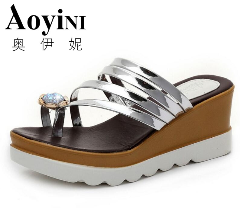 Flip Flops 2017 Summer Hot Sale Crystal Gladiator Sandals Summer Slippers Platform Shoes Woman Casual Creepers Slip On Flats phyanic 2017 gladiator sandals gold silver shoes woman summer platform wedges glitters creepers casual women shoes phy3323