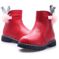 DapChild High Quality Kids Winter Shoes For Girl Genuine Leather Waterproof Martin Boots Fashion Snow Boots