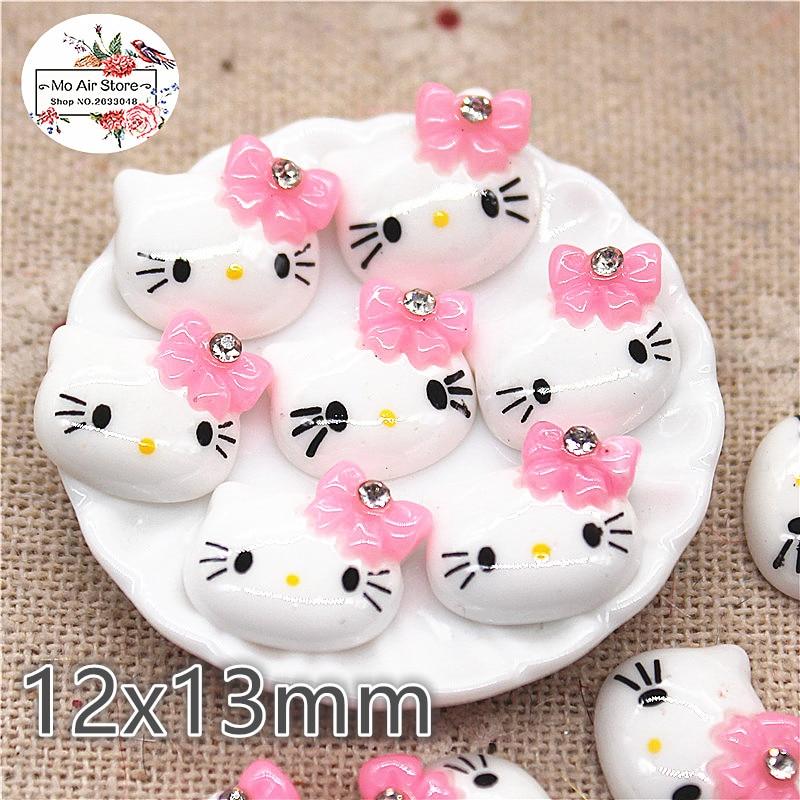 20pcs Resin Kawaii Hello Kitty With Pink Rhinestone Bow Flat Back Cabochon Art Decoration Charm Craft