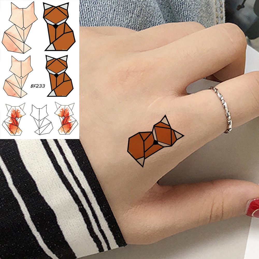 VANKIRS Orange Tattoo Sticker Geometric Fox Women Temporary Tattoo Small Kids Cartoon Animals Waterproof Tatoo Triangle Cosmetic