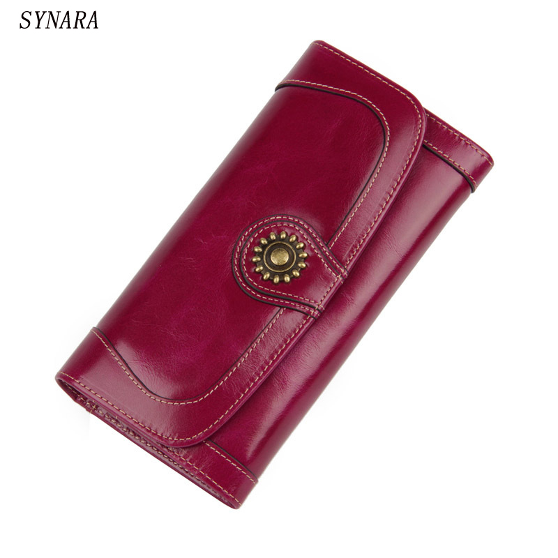 2017 Women Oil Wax Cowhide wallet Cowhide Long Zipper Wallets with  Lady Vintage Clutch Fashion Leather Card Purse simline fashion genuine leather real cowhide women lady short slim wallet wallets purse card holder zipper coin pocket ladies