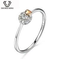 DOUBLE-RING 진짜 18 천개 골드 고급 보석 정품 0.085ct 다이아몬드 반지 심장 여성 독특한 웨딩 약혼 반지 ASR01005KA-7