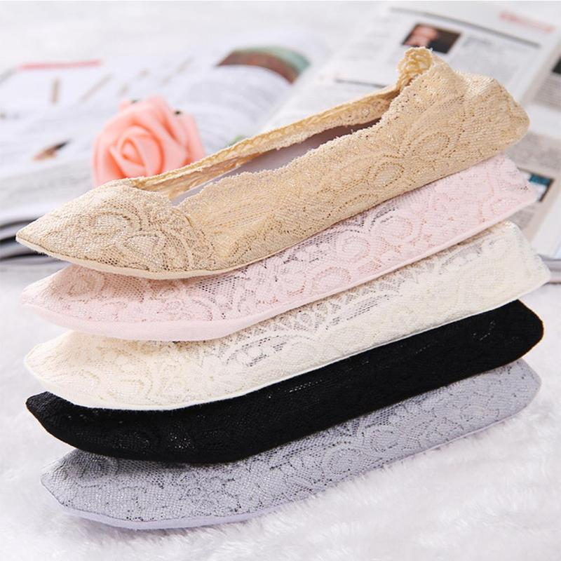 5 Pairs Vrouwen Onzichtbare Kant Sok Slippers Zomer No Show Siliconen Antislip Loafer Low Cut Lady Solid Dunne Katoenen Sokken Dropship