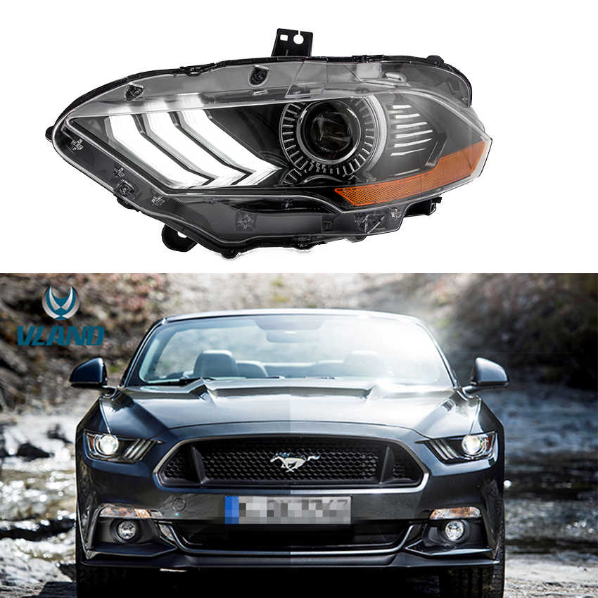 VLAND Factory Head light Fit for Ford Mustang 2017 2018 2019 Headlight front lamp with Sequential indicator