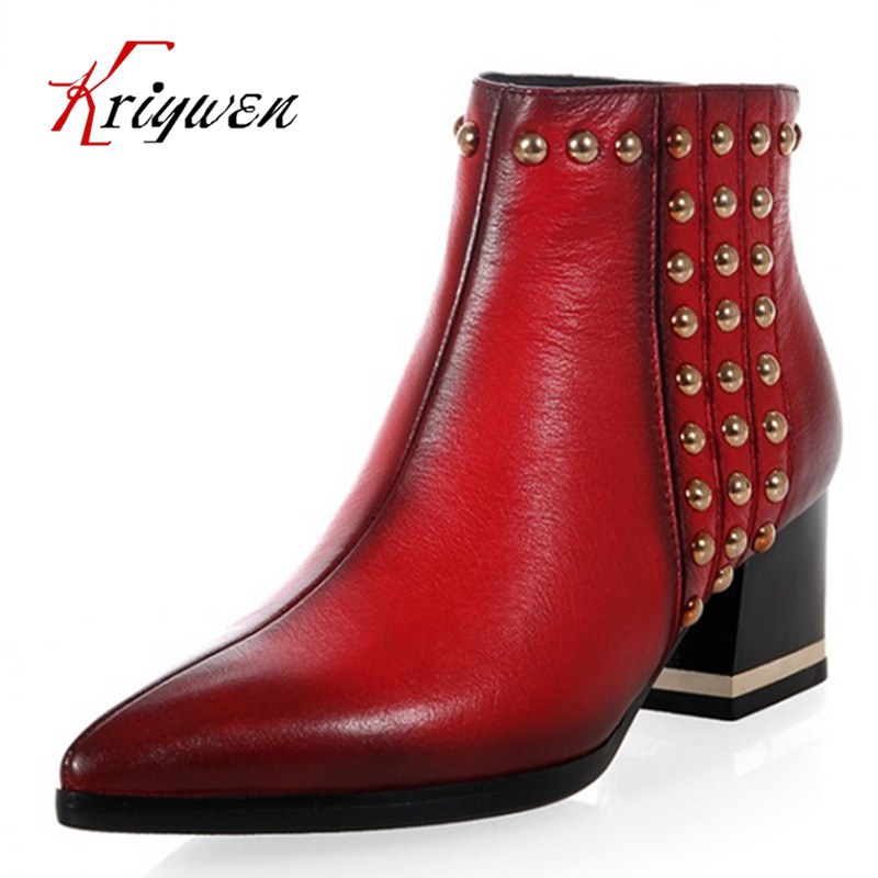 2016 mode en cuir véritable bottes talons épais cheville bottes Livraison gratuite style Britannique bout pointu