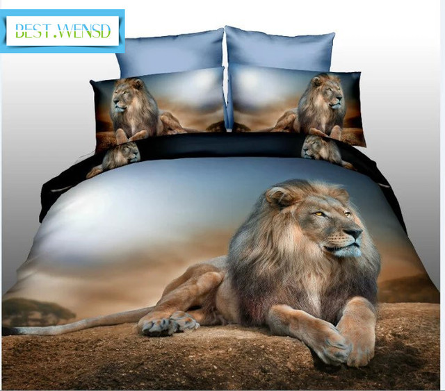 BEST.WENSD Hot 3d Tiger 4Pcs bedding set luxury include bedspread+Bed sheet+Pillowcases housse de couette car-covers beddengoed