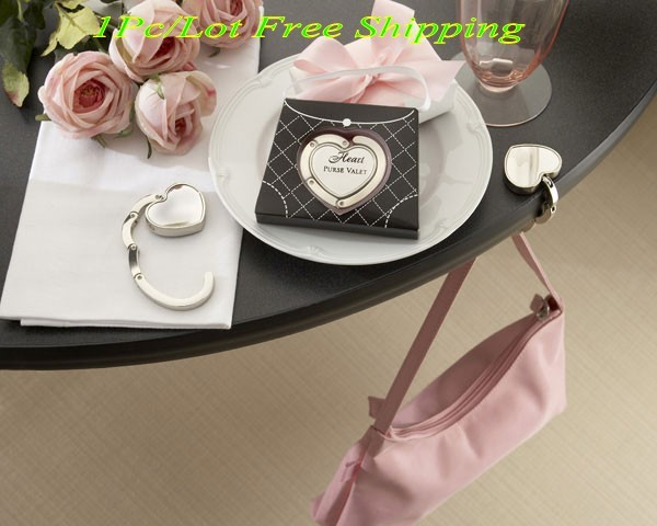 """Regalos de damas de honor de """"Corazón monedero Valet"""" soporte compacto de acero inoxidable para la decoración de la boda favores y regalos de novia"""