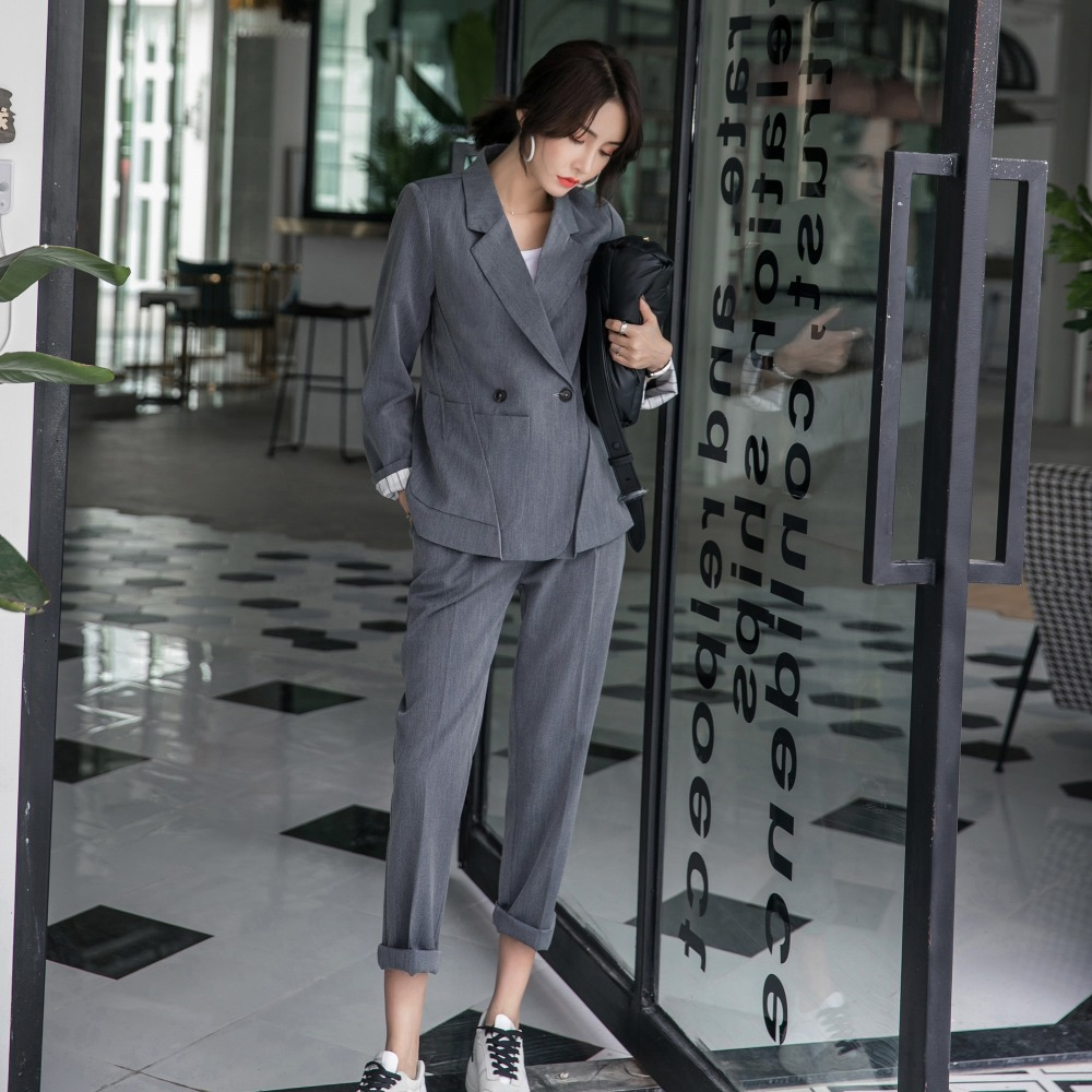 2019 Spring New Women's Long Sleeve Blazer Suits Double Breasted Tops Elastic Waist Pants Formal Notched Elegance S8D511J-in Pant Suits from Women's Clothing    3