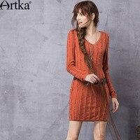 ARTKA Women's 2018 Autumn 4 Colors Vintage Knitted Sheath Dress Fashion V Neck Long Sleeve Tassels Decoration Dress LB10965Q