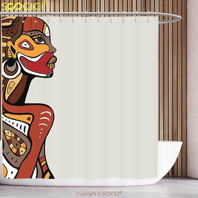 Waterproof Shower Curtain African Decorations Profile Of Sexy Lady With Different Tattoos On Her Body