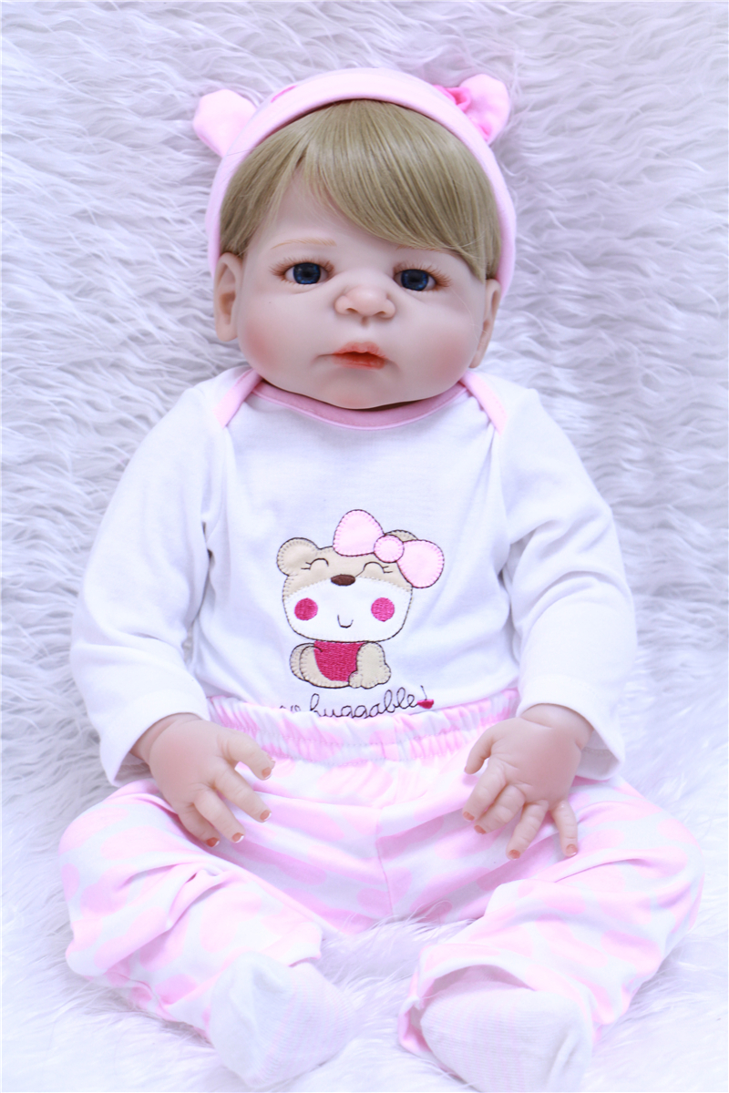 55cm Full Body Silicone Reborn Baby Boy Doll Toys Play House Bathe ...