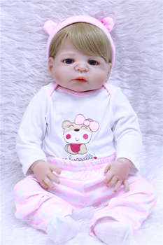55cm Full Body Silicone Reborn Baby Boy Doll Toys Play House Bathe Toy Newborn Baby Birthday Gift Christmas Present