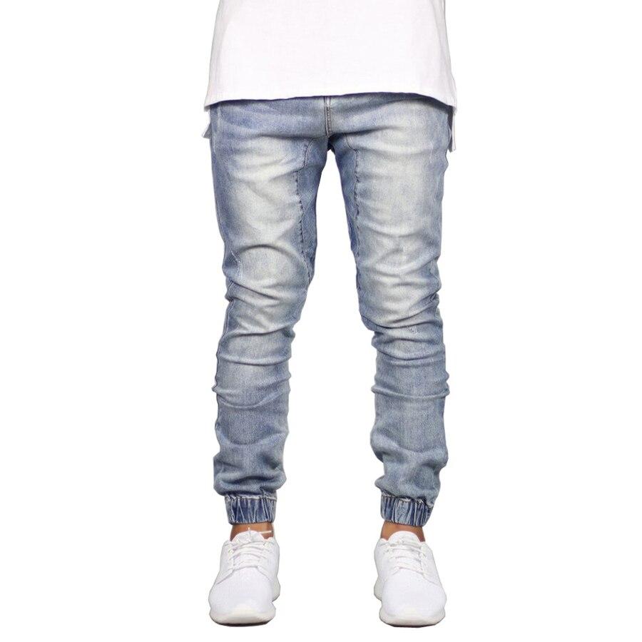 Men   Jeans   Fashion Stretch Joggers Hip Hop Denim Jogger Pants H5092
