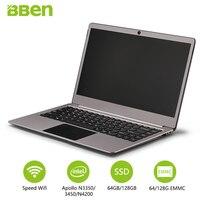 Bben N14W 14,1 Тетрадь Pro Win10 N3450 4 ГБ Оперативная память 64 ГБ Emmc 128 SSD Intel Apollo Lake quad ядер Wi Fi usb3.0 type c