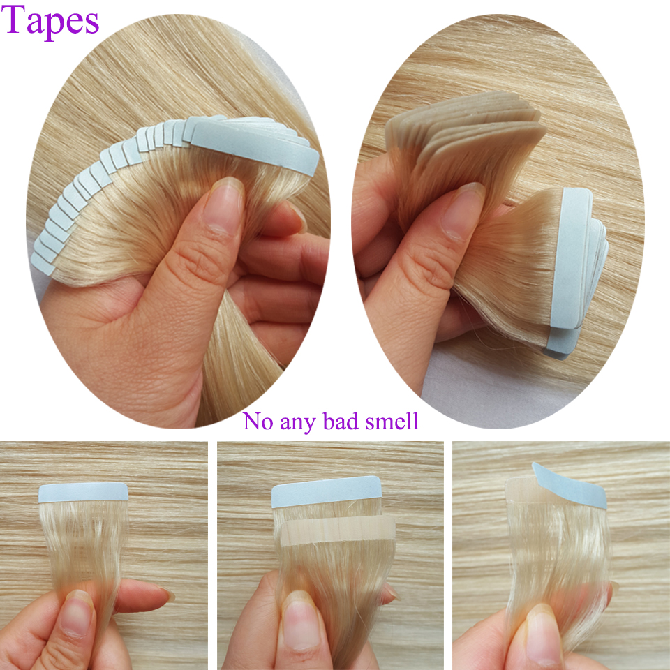 HTB1JPjqVZfpK1RjSZFOq6y6nFXag - ShowCoco Tape in Human Hair Extensions Natural Real Hair 20/40pcs Machine-made Remy shine Brown to Blonde tape ins