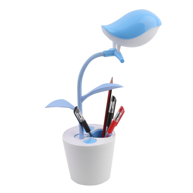 High Quality Creative Cute Birds on the Tree Shape LED USB Rechargeable Lamp Eye Protective Reading Lamp Penholder hot