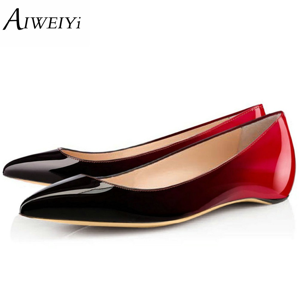 AIWEIYi Spring Summer NEW Fashion Flats Pointed toe Studded Rivetts Women's Flat Shoes Woman Ladies Casual Ballet Shoes new hot spring summer high quality fashion trend simple classic solid pleated flats casual pointed toe women office boat shoes