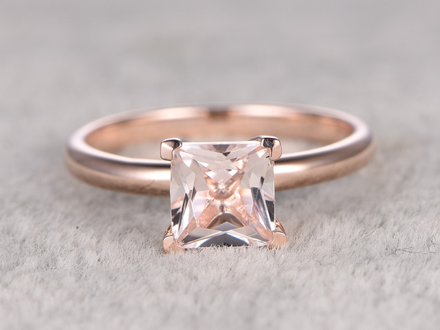 Myray 14k Rose Gold Natural 5x5mm Princess Cut Pink Morganite Engagement Ring Vintage Wedding Rings For