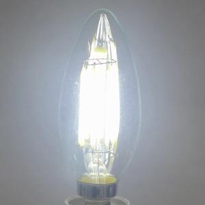 Image 2 - E12 E14 E27 LED bougie ampoule C35 lumière 2 W/4 W/6 W 110 V/220 V blanc chaud/froid rétro lampe à incandescence pour lustre éclairage 360 degrés