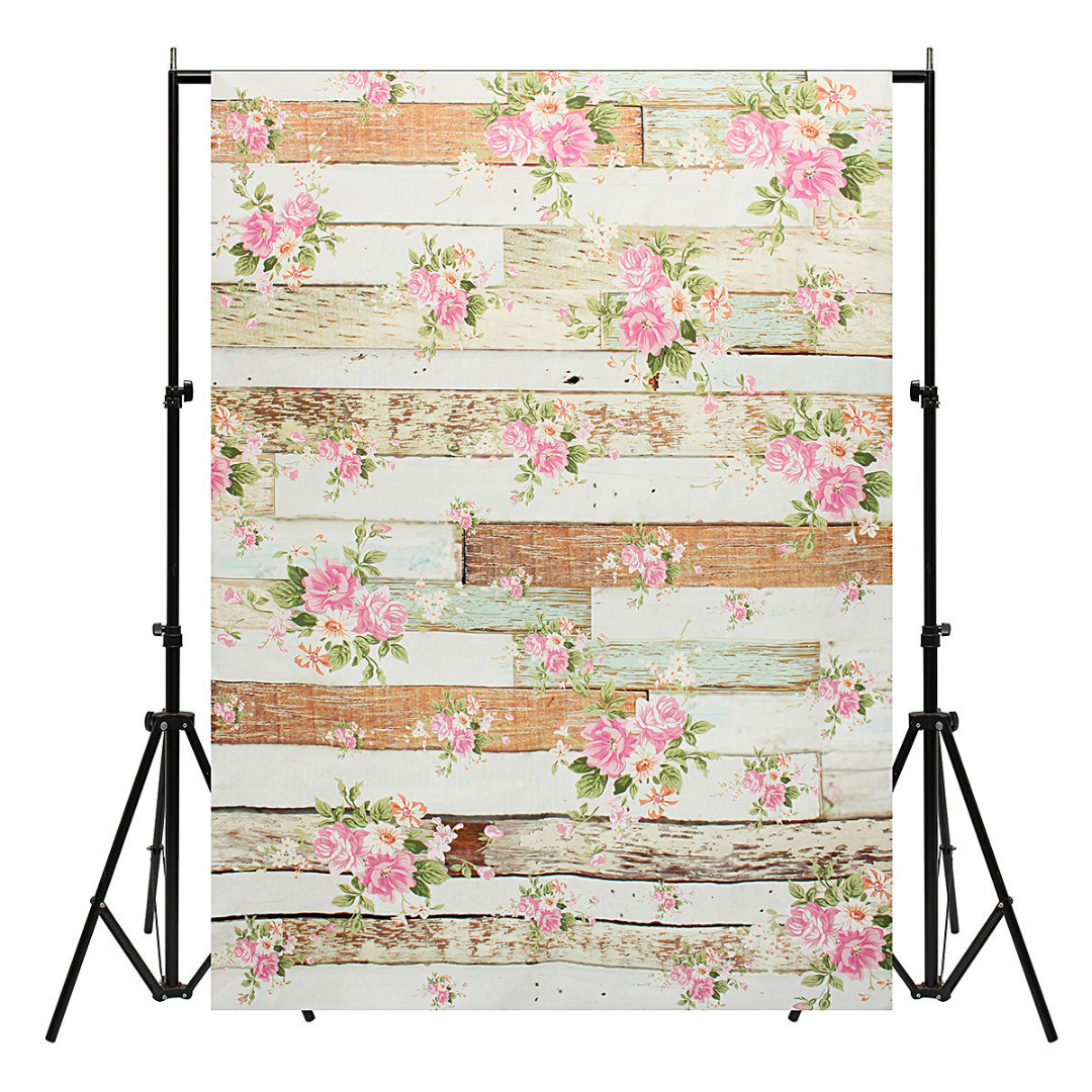 Mayitr 5x7ft Vinyl Wooden Floor Wall Photography Background Rose Flowers Backdrop For Studio Photo Prop