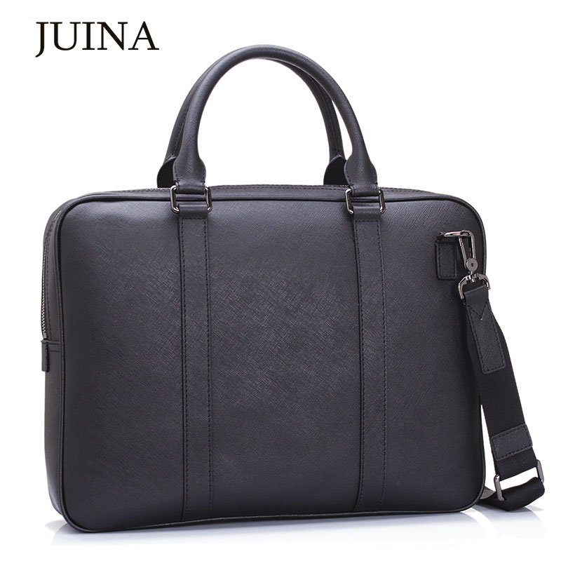 New Men's Genuine Leather Laptop Briefcase Large Capacity Cowhide Crossbody Bag.