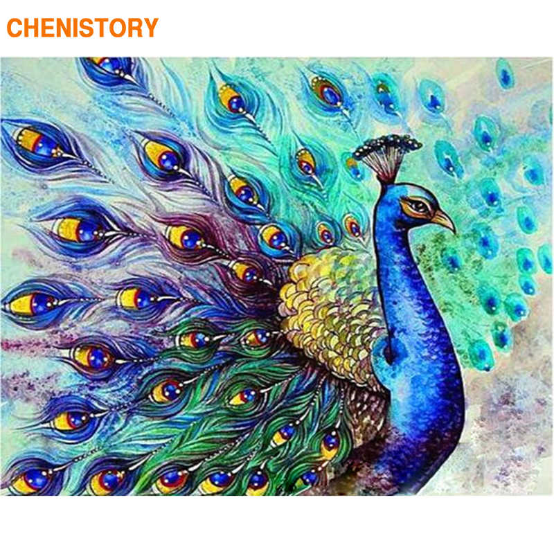CHENISTORY Frameless Peacock Animals DIY Painting By Numbers Kits Acrylic Paint By Numbers Home Wall Art Decor Unique Gift 40x50