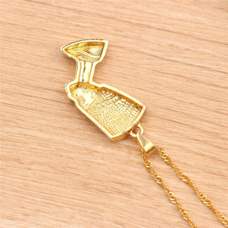 Egipska królowa Nefertiti wisiorek naszyjniki dla kobiet mężczyzn biżuteria złoty kolor hurtownia Hip Hop biżuteria afrykańska Kolye