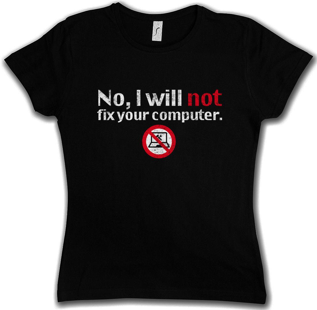 Летняя футболка с принтом Рубашки для мальчиков короткий рукав o Средства ухода за кожей шеи нет, я не будет исправить ваш компьютер женская ...