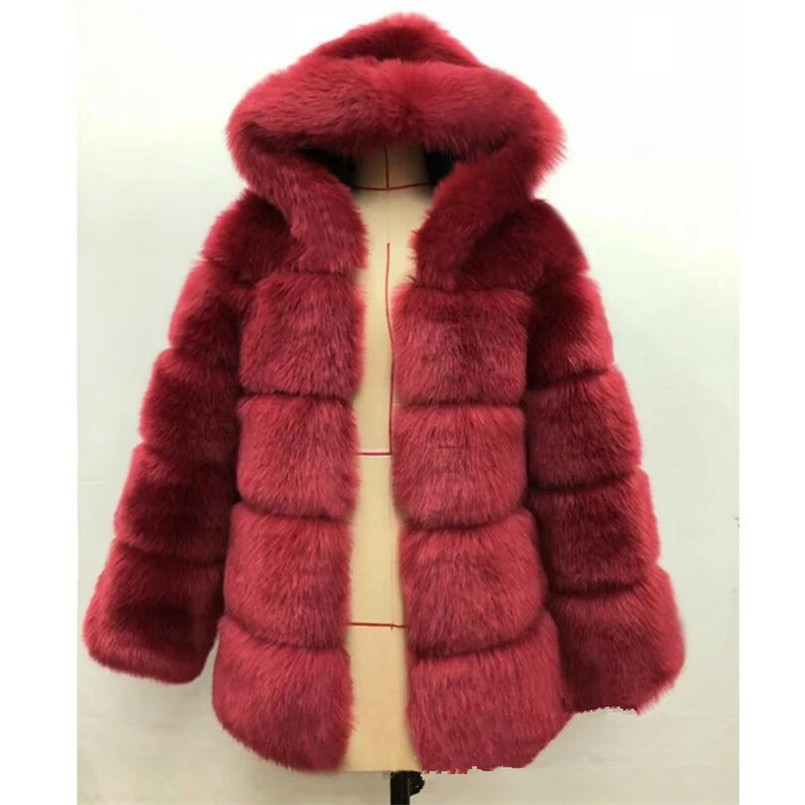 2019 New Fashion Hooded Full Sleeves Winter Fur Coat Kahki Black Gray Casual Women Faux Fur Thick Warm Jacket Fourrure Femme in Faux Fur from Women 39 s Clothing