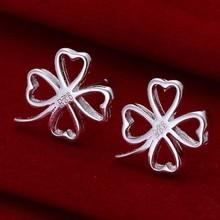 Wholesale 925 jewelry silver plated earrings,  jewelry silver plated fashion jewelry,  Four-leaf Clover Earrings E101