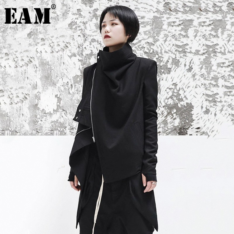 [EAM] 2020 New Spring Stand Collar Long Sleeve Black Zipper Split Joint Irregular Jacket Women Coat Fashion Tide JI102