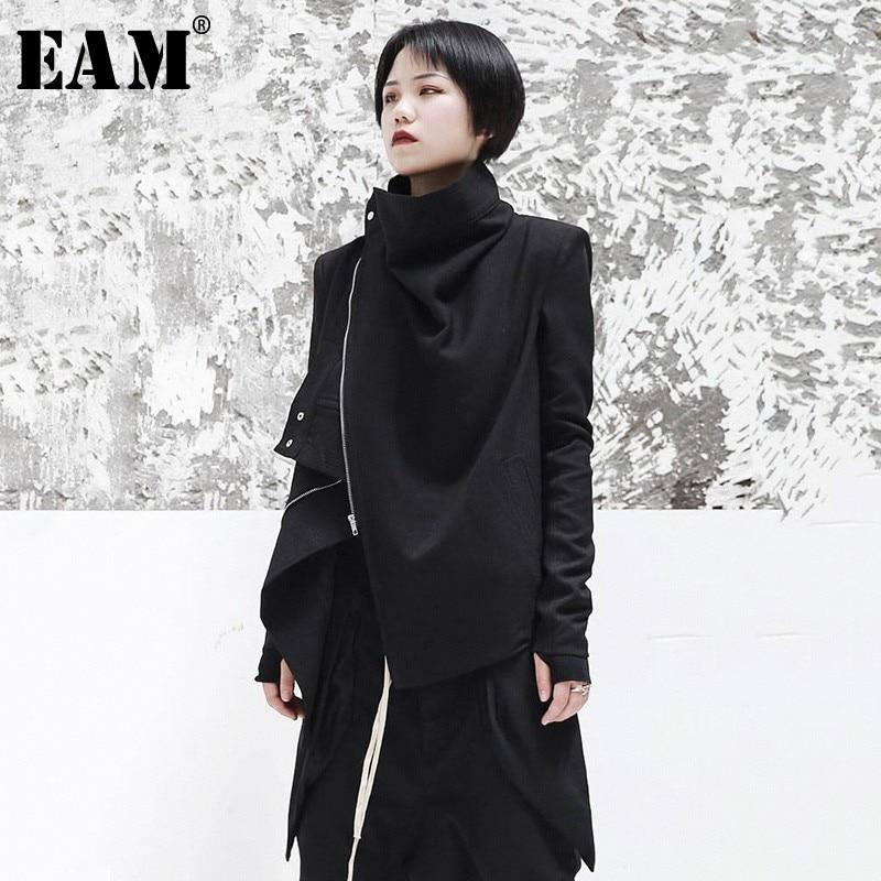 [EAM] 2020 New Spring Stand Collar Long Sleeve Black Zipper Split Joint Irregular Jacket Women Coat Fashion Tide JI102