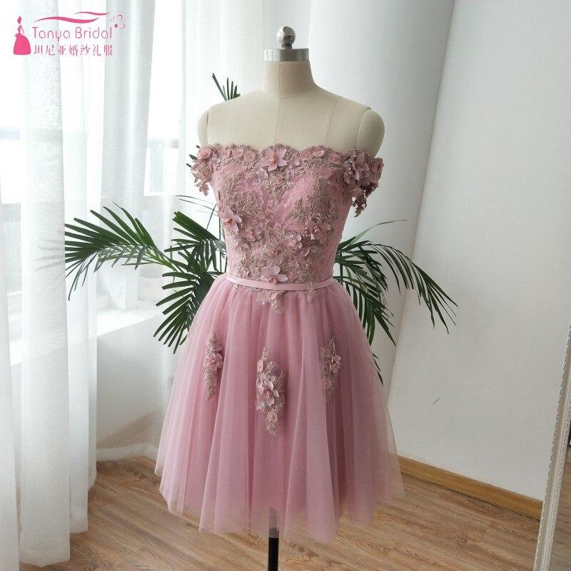 Einfache Brautjungfern Brautjungfer Von Länge Weg Dqg345 Der Demoiselle Robe Knie Schulter Rosa D'honneur Kleider rrqdxw8