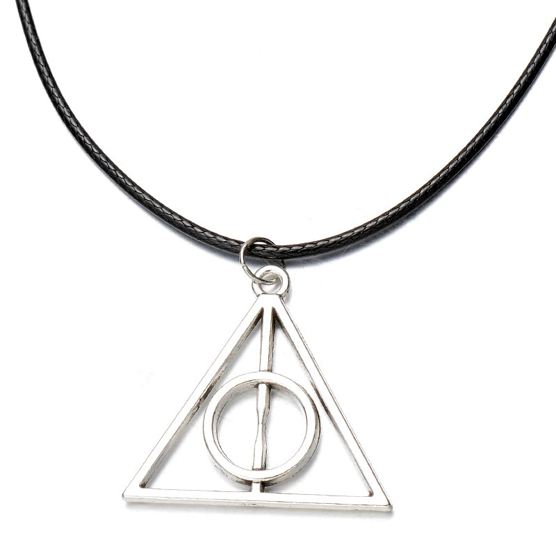 Harri Potter Luna Triangle Pendant Necklace For Men Women The Deathly Hallows Silver Charms Vintage Necklace Unisex Jewelry
