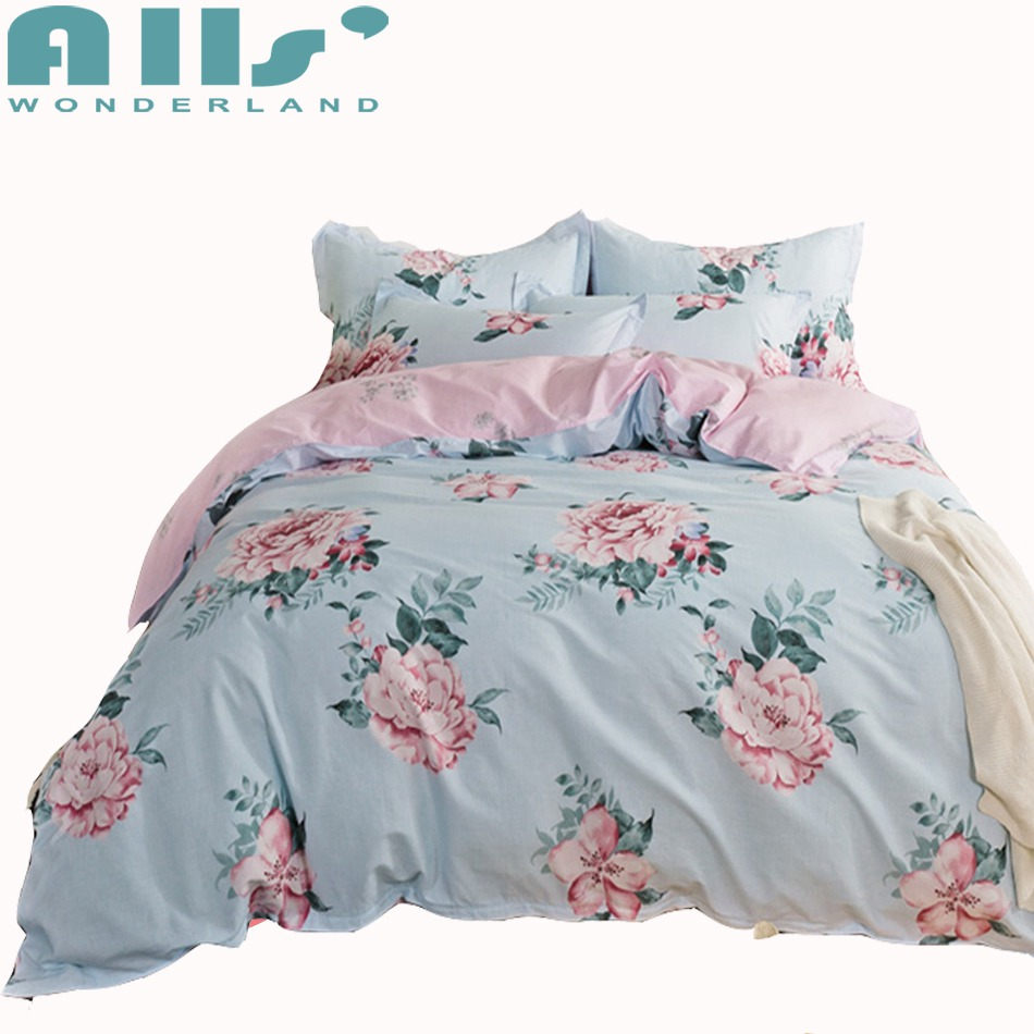 3 4pcs Blue Flowers Duvet Cover Set Queen Twin Size Bedding Sets For Adults Pink Floral Bed