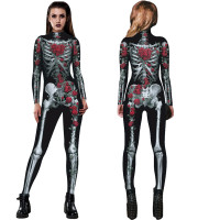 2017 Fashion Womens Top Set Halloween Pritning Rose Skeleton Movement Breathable Party Fancy Play Sexy Clothing