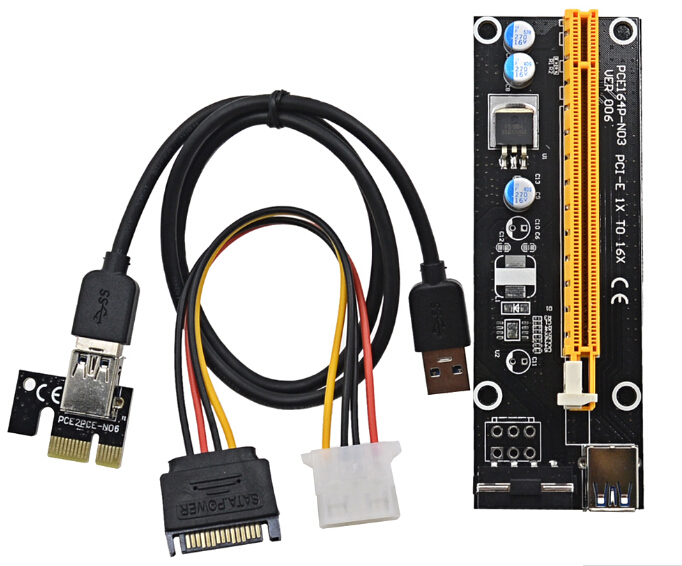 PCI-E 1X to 16X Riser Card USB 3.0 Extender Flexible Cable with SATA 4 Pin IDE Molex Power Cable for Bitcoin Litecoin Miner