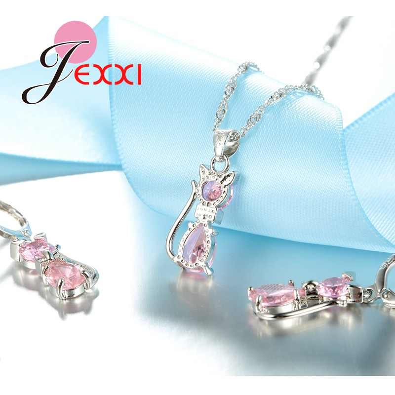 Fast Shipping Retail Romantic Engagement Silver Cute Cat Jewelry Sets Necklace Earrings With Austrian Crystal For Women