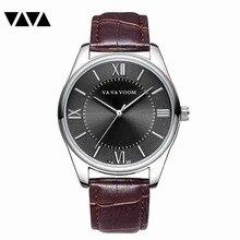 VA VA VOOMMen's Watches Stopwatch Date Hands Genuine Leather 30M Waterproof Clock Man Quartz Watches Men Fashion Watch 2019 все цены