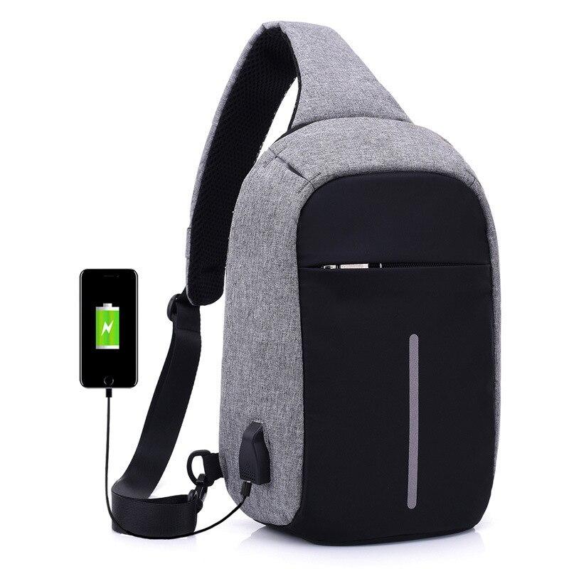 2019 New Single Shoulder Backpack Anti-theft Backpack Men's Burglar USB Charging Crossbody Bag Men&Female Stealth Zipper Bag
