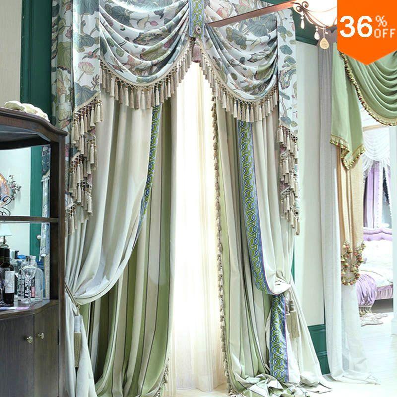La plupart des cordes vertes avec des perles de cantonnière le rideau pour les fenêtres