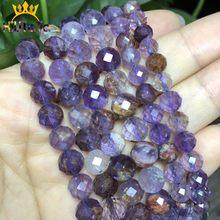 Perles précieuses en cristal Quartz violet à facettes naturelles pour la fabrication de bijoux, Bracelet de mode DIY, 6/8mm, 7.5 pouces