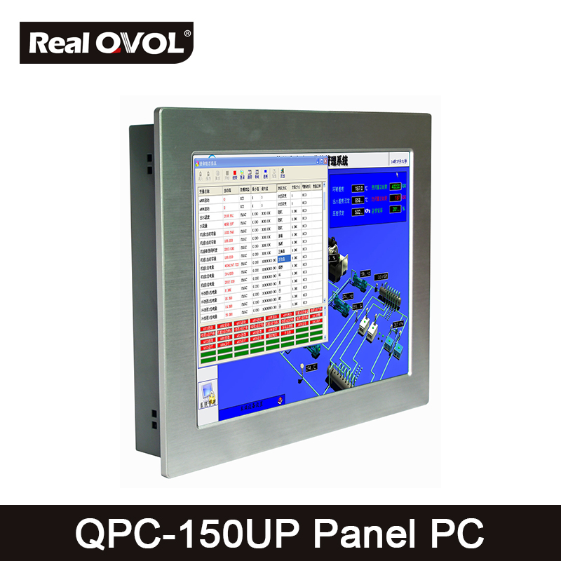 QPC-150UP Panel touch PC industrial computer fanless Intel 1037U 1.8GHz CPU, 32GB SSD with VGA HDMI port & 4 Serial Port,2 LAN thin client fanless industrial pc embedded intel celeron 1037u 4 rs232com port 2 gigabit lan usb3 0 win 7