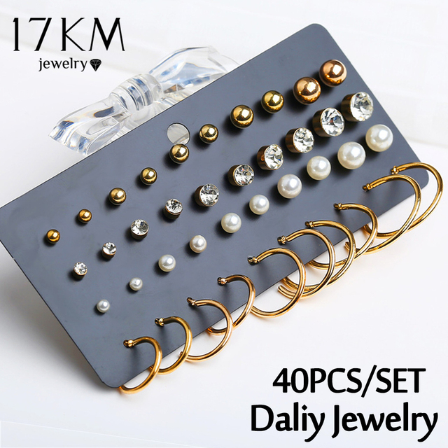 40 PCS/set Fashion Crystal Round Beads Stud Earrings Set For Women Man Gold Color Circle Earrings Unisex Daliy Jewelry 2019