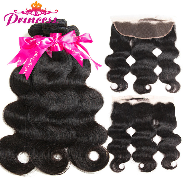 Beautiful Princess Hair 13x4 Lace Frontal Closure With Bundles Brazilian Body Wave Human Hair Bundles With Lace Closure Non-Remy